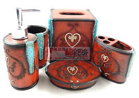 Western Turquoise Rhinestones Red Heart Bathroom Accessory Set 5 Pieces Scrolls