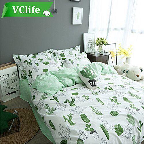 VClife Cotton Bedding Sets Cactus Print Duvet Cover Home Decor 68  x 86  Twin