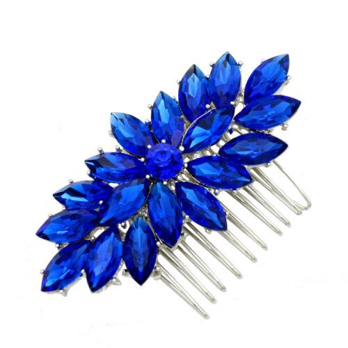 Women Elegant Crystal Petals Prom Party Evening Hair Comb Head Bridal Decoration