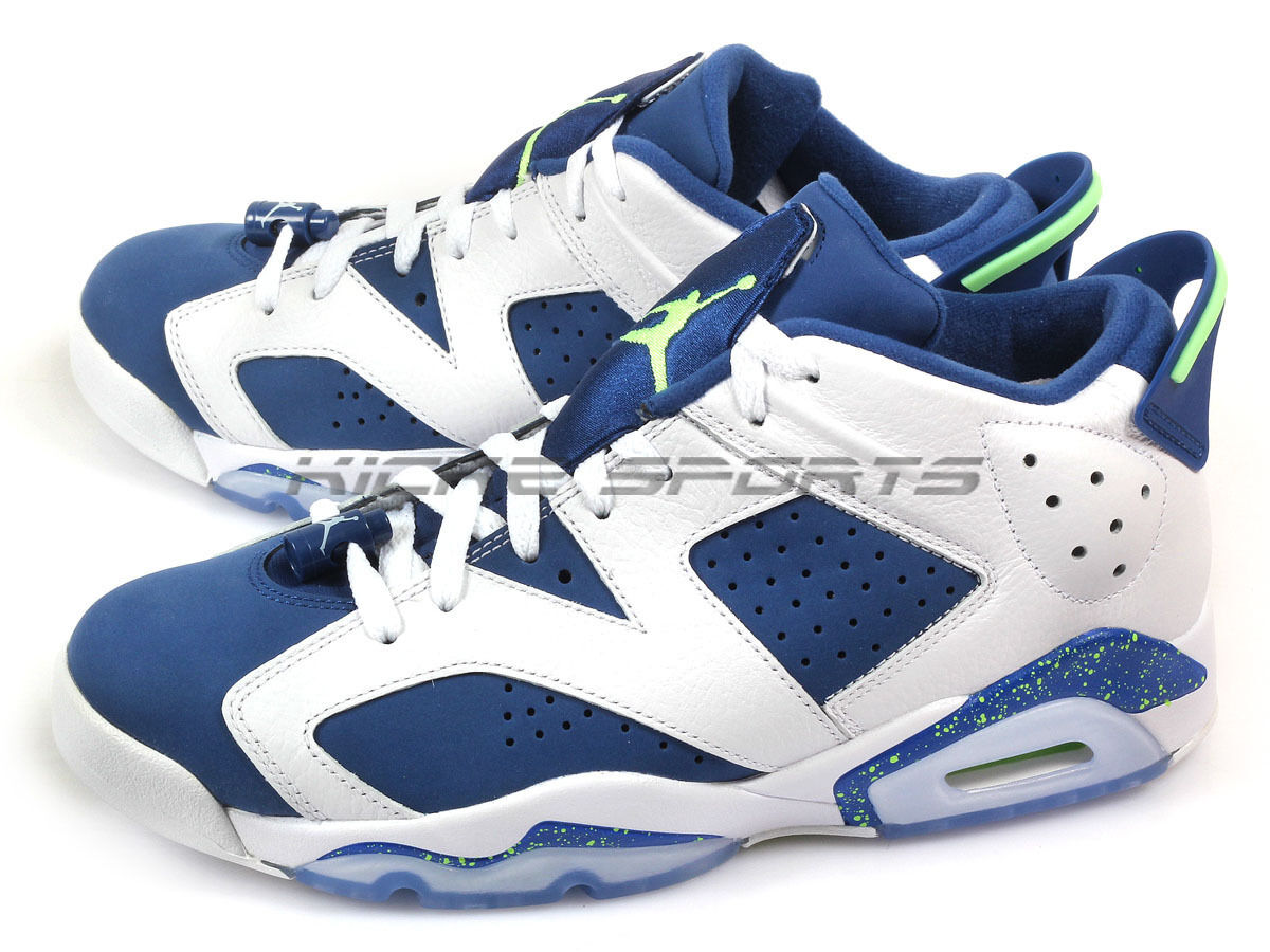 Nike Air Jordan 6 Retro Low White Ghost Green-Insignia bluee Seahawk 304401-106