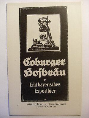 Reklame & Werbung Alte Ansichtskarte Bockbier Coburger Hofbräu Reklame Brauerei Bier Um 1920 Husten Heilen Und Auswurf Erleichtern Und Heiserkeit Lindern