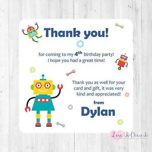 personalised robot birthday party invitations thank you cards