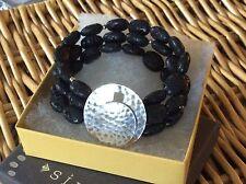 SILPADA Toggle Bracelet B1511 Sterling Silver Triple Strand Black Lava Beads