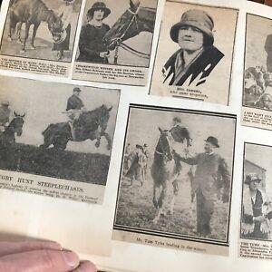 Vintage Scrapbook Newspaper Magazine Cuttings Royalty Horse Racing Crafting Old