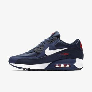 Details about Nike Air Max 90 Essential Shoes Men's Midnight Navy White Red AJ1285 403 Sz5 12