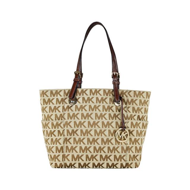 Michael Kors Jet Set Signature Logo Tote Handbag in Mocha - Tan
