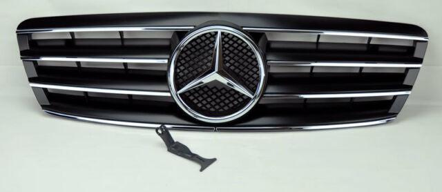 Mercedes C Class W203 4Dr 01-07 4 Fence Front Hood Sport Black Grill Grille