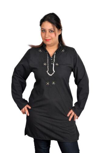 Magnifique oriental femmes tunique Chemisier Avec Broderie En Noir-ft0024