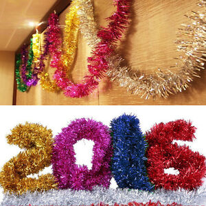 6X-Colorful-Shining-2M-Tinsel-Garland-Christmas-Tree-Decoration-Metallic-Foil