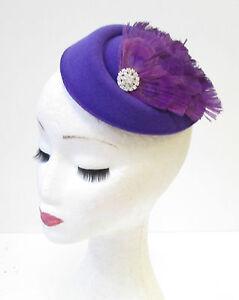 Cream Silver Purple Feather Pearl Pillbox Hat Fascinator Headpiece Races Vtg 313
