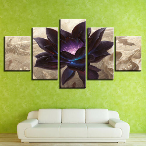 Black Lotus Flower Magic 5 Piece Canvas Print Wall Art