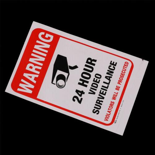 5pcs 24H CCTV Video Camera System Security Warning Sign Sticker Fp