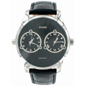 new original guess deuce dual 2 time zone black leather strap men image is loading new original guess deuce dual 2 time zone