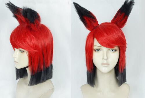 hazbin hotel ALASTOR Cosplay Costume Kostüme Perücke Wig Rot Schwarz Red Black