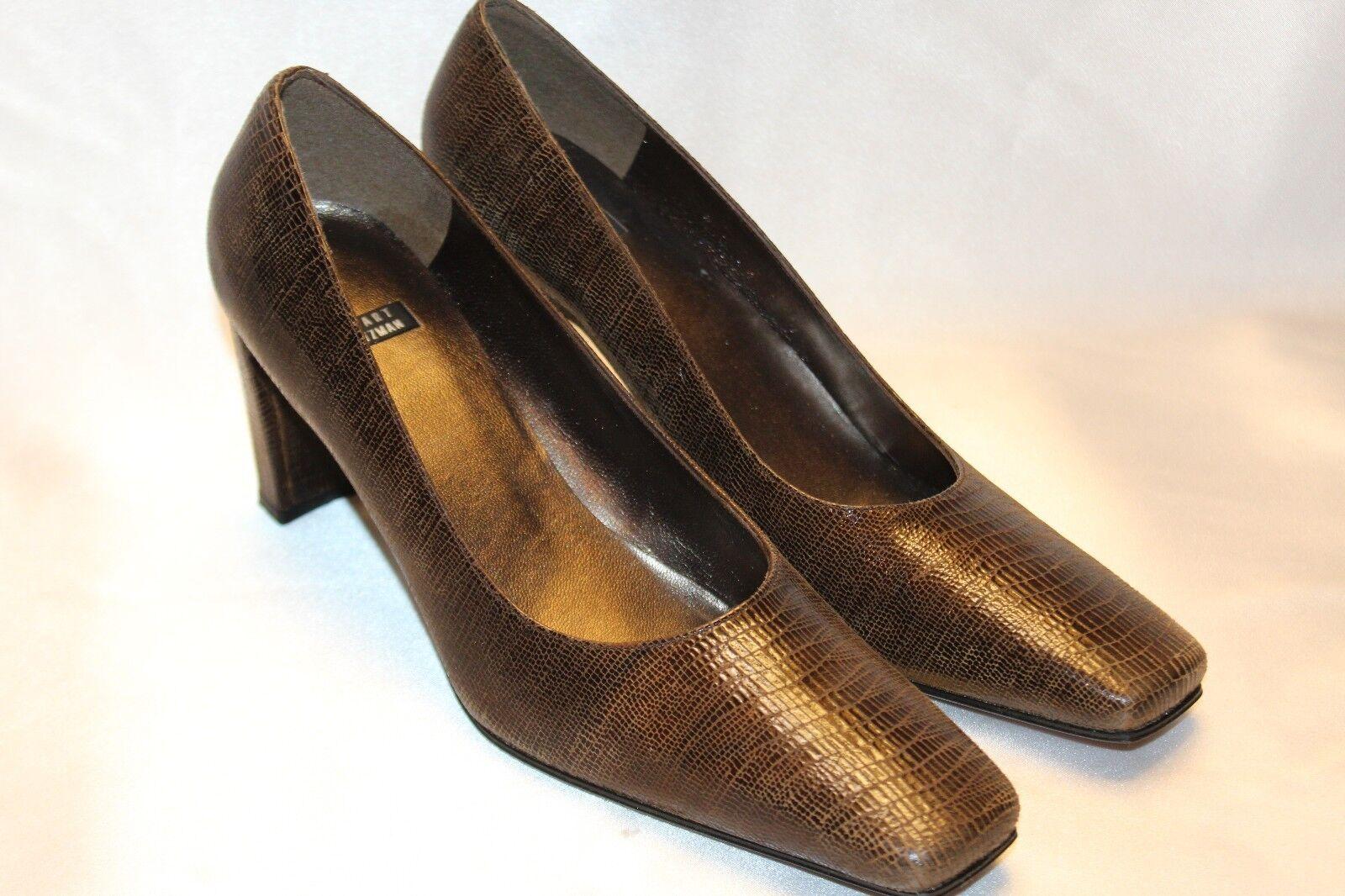 NEU  STUART WEITZMAN Braun Lizard Leder Square Toe Classic Heels Pumps 8.5 M