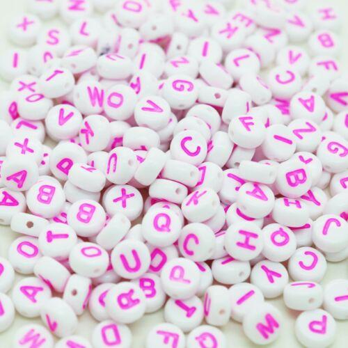 100 x 7 mm mixte blanc rose lettre Flat Round Bead Bijoux Mannequin Clip Making