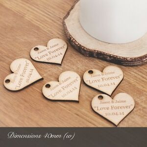 Personalised 4cm Beech Wooden Heart Wedding Favours, for Invites or Decorations.