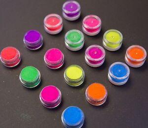 Neon-brillo-Ollas-fino-brillo-polvo-Gran-Variedad-De-Colores-Nail-Art-Craft