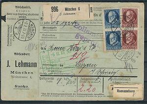 Altdeutschland Bavière propre paquet carte avec belle MIF mi. Nº 97u.101 à partir de-afficher le titre d`origine 32uufZtt-07163539-739907391
