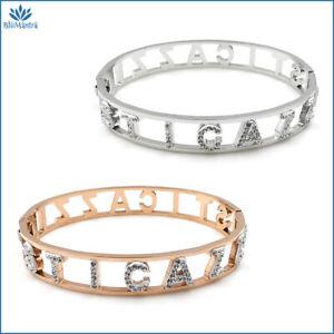 Bracciale da donna braccialetto rigido manetta con scritta sticazzi in acciaio