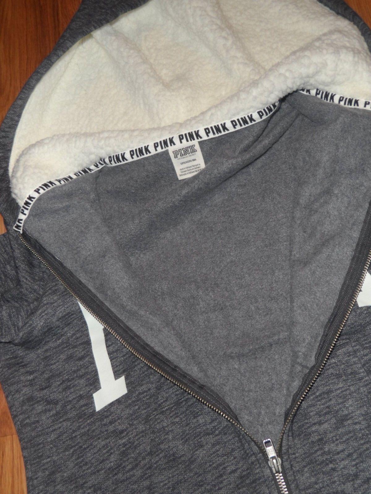 VS Victoria's secret PINK  small  hoodie hooded    lot 2 sweatshirt Sherpa 28007b