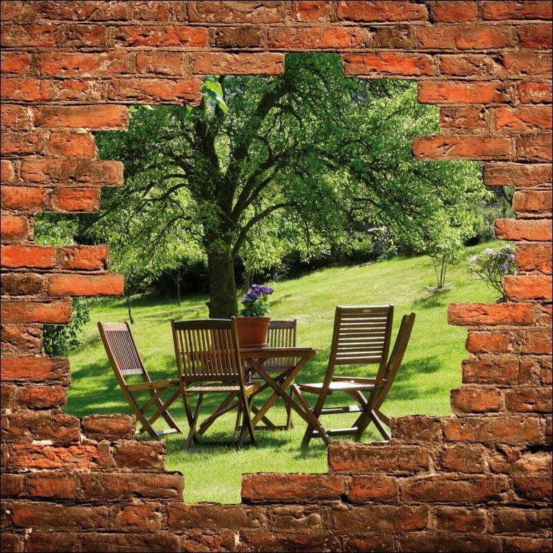 Sticker mural trompe trompe trompe l'oeil table sous l'arbre 853 19dd1a
