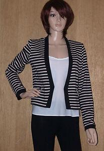 Nouveau-Femme-Ex-Dorothy-Perkins-stripped-blazer-jacket-noir-beige-rrp-40