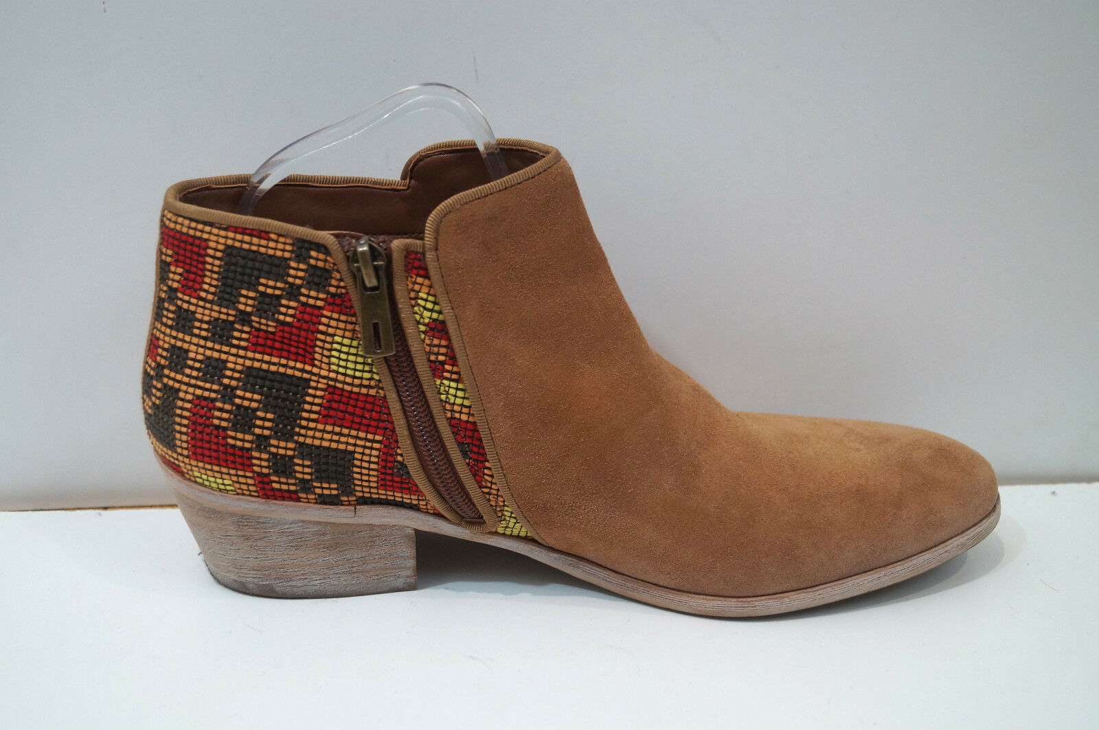 SAM EDELMAN Women's Tan Suede & Multi Colour Embroidery Ankle Ankle Ankle Boots UK8; US10M 962dd6