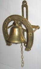 Wandglocke Türglocke, mit Hufeisen aus Messing, unbenutzt, 21x14x7cm