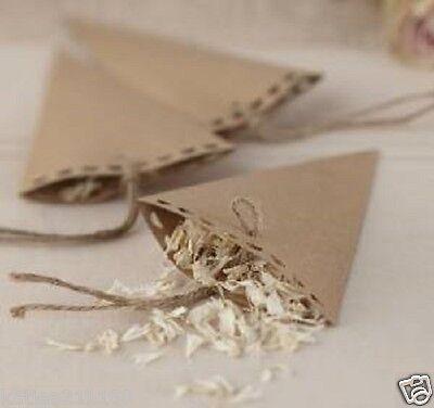 wedding vintage affair brown kraft paper & twine 10 confetti favour cones