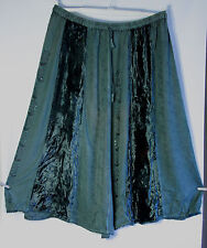 Green Hippy Boho Gypsy Skirt with velvet and embroidery size XL #5006