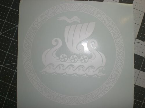 Norse//Viking Ship In Circle Sticker Decal