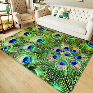 Details about  /3D Green Peacock Feather NAO1660 Game Rug Mat Elegant Photo Carpet Mat Fay