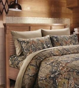 NATURAL-BROWN-CAMO-6pc-King-SHEETS-SET-CAMOUFLAGE-WOODS-CABIN-TREE-HUNTING