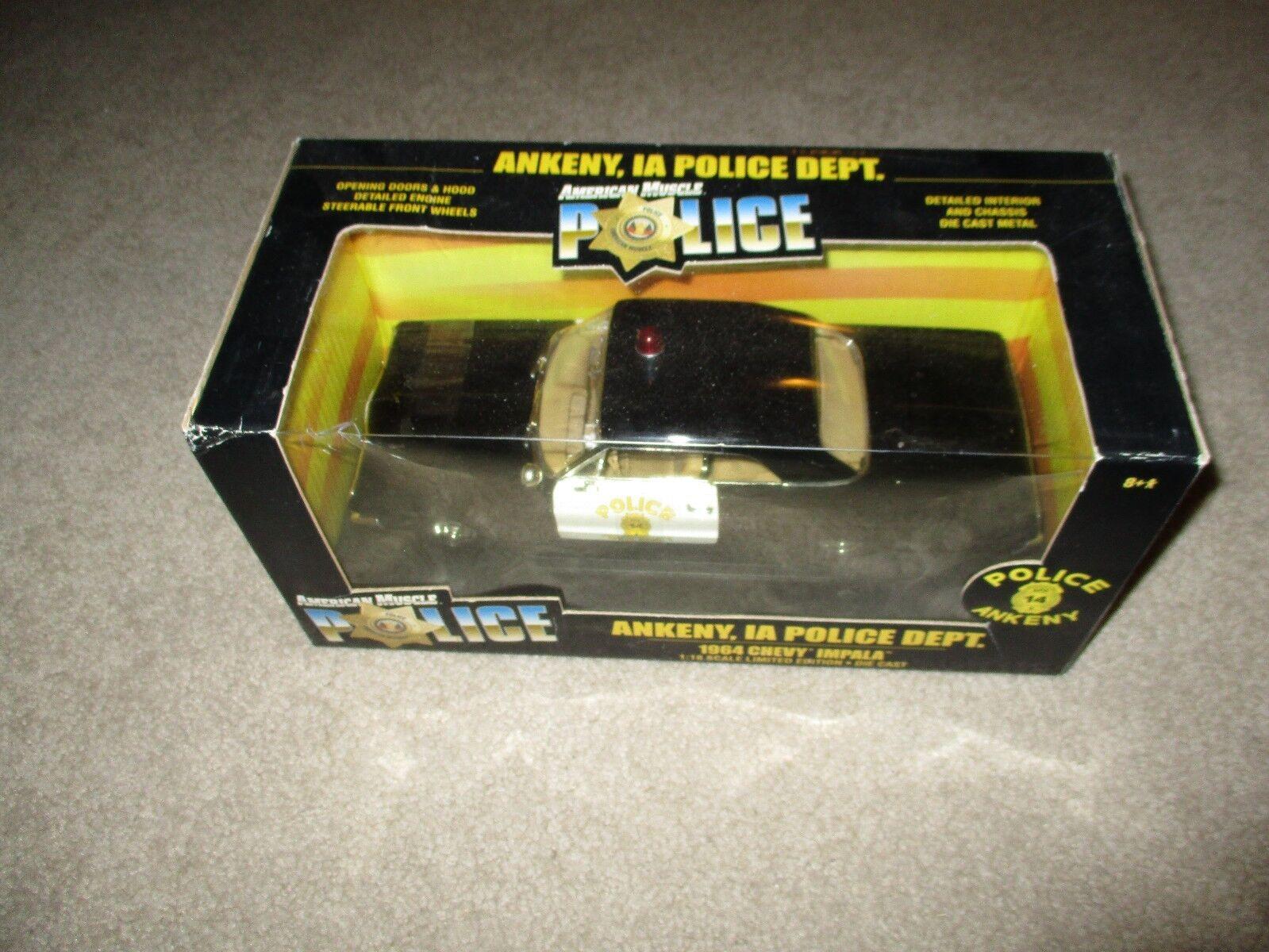 despacho de tienda American Muscle Ankeny, IA Police Police Police Dept 1964 Chevy Impala 1 18 Scale MISB 2001  ganancia cero