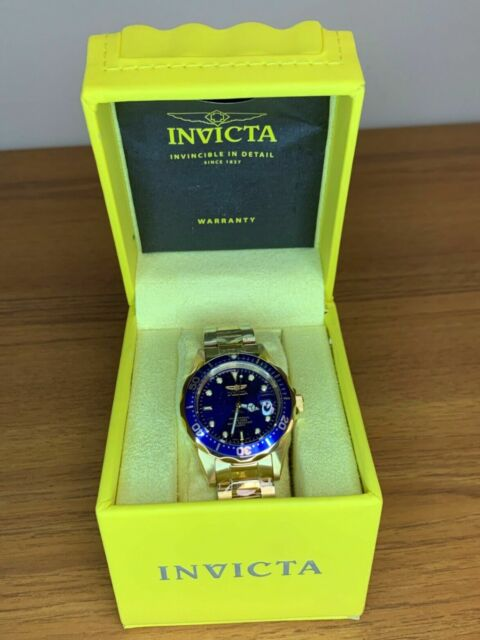 Invicta Men's Watch Pro Diver Quartz Blue Dial Gold Bracelet