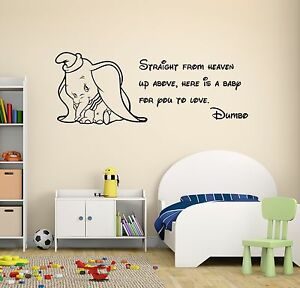 Image Is Loading Dumbo Quote Wall Decal Disney Elephant Nursery Decor