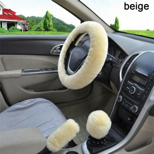 Warm Fur Steering Wheel Cover Handbrake Case 3Pieces//Set Car Soft Wool