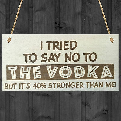 I TRIED TO SAY NO TO THE VODKA fun signs shabby vintage chic drinks plaque