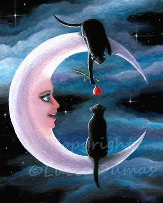 Art Print 8x10 black Cat 581 Crescent Moon from fantasy painting by L.Dumas