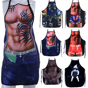Details About Funny Novelty Muscle Men Apron Washable Kitchen Bbq Bib Chef Cooking Apron Gifts