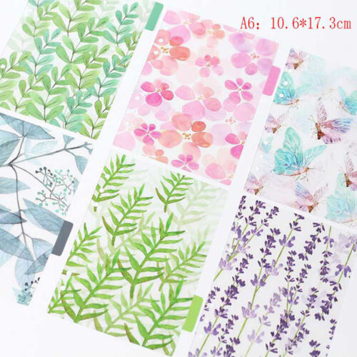 6Pcs//set Index dividers binder spiral PP notebook diary accessory notepad bv