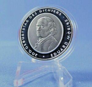 Pièce argent 10€ ALLEMAGNE 2004 DEUTSCHLAND 200 ans EDUARD MORIKE F Stuttgart