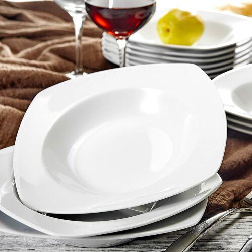 MALACASA 6pcs Kitchen White Dinning Soup Plate China Ceramic Noodle Ramen Bowls