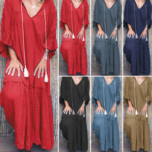 VONDA-Womens-V-Neck-Loose-Plus-Size-Ruched-Bell-Sleeve-Long-Maxi-Dress-Caftan-AU