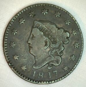 1817-Coronet-Large-Cent-US-Copper-Type-Coin-13-Stars-VF-Very-Fine-K17