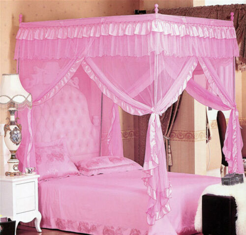 4 Corner Post Bed Canopy Full Queen King Size Mosquito Net Bedroom Mesh Curtain
