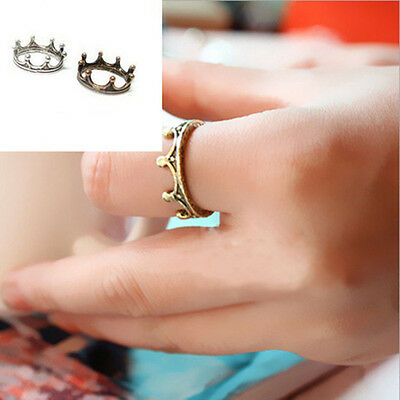 17mm Women Vintage Luxury Accessories Crown Antique Silver Bronze Rings Jewelry