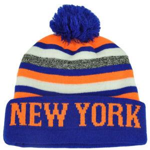 New York Pom Pom Cuffed Toque Blue Orange City State Town Beanie Knit Striped