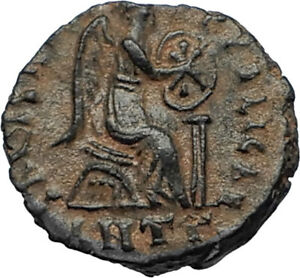 EUDOXIA-Arcadius-Wife-401AD-Authentic-Ancient-Roman-Coin-VICTORY-CHI-RHO-i67297
